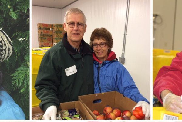 Four individuals who are volunteers at Food Lifeline