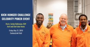 Former Seahawks Cliff Avril and Jordan Babineux stand with Chef John Howie to end hunger